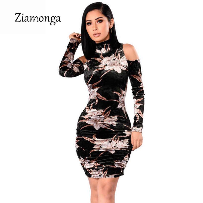 e253189b487cd Ziamonga Women Sexy Tight Party Dresses Autumn 2019 Black Bodycon Velvet  Dress Long Sleeve Floral Print