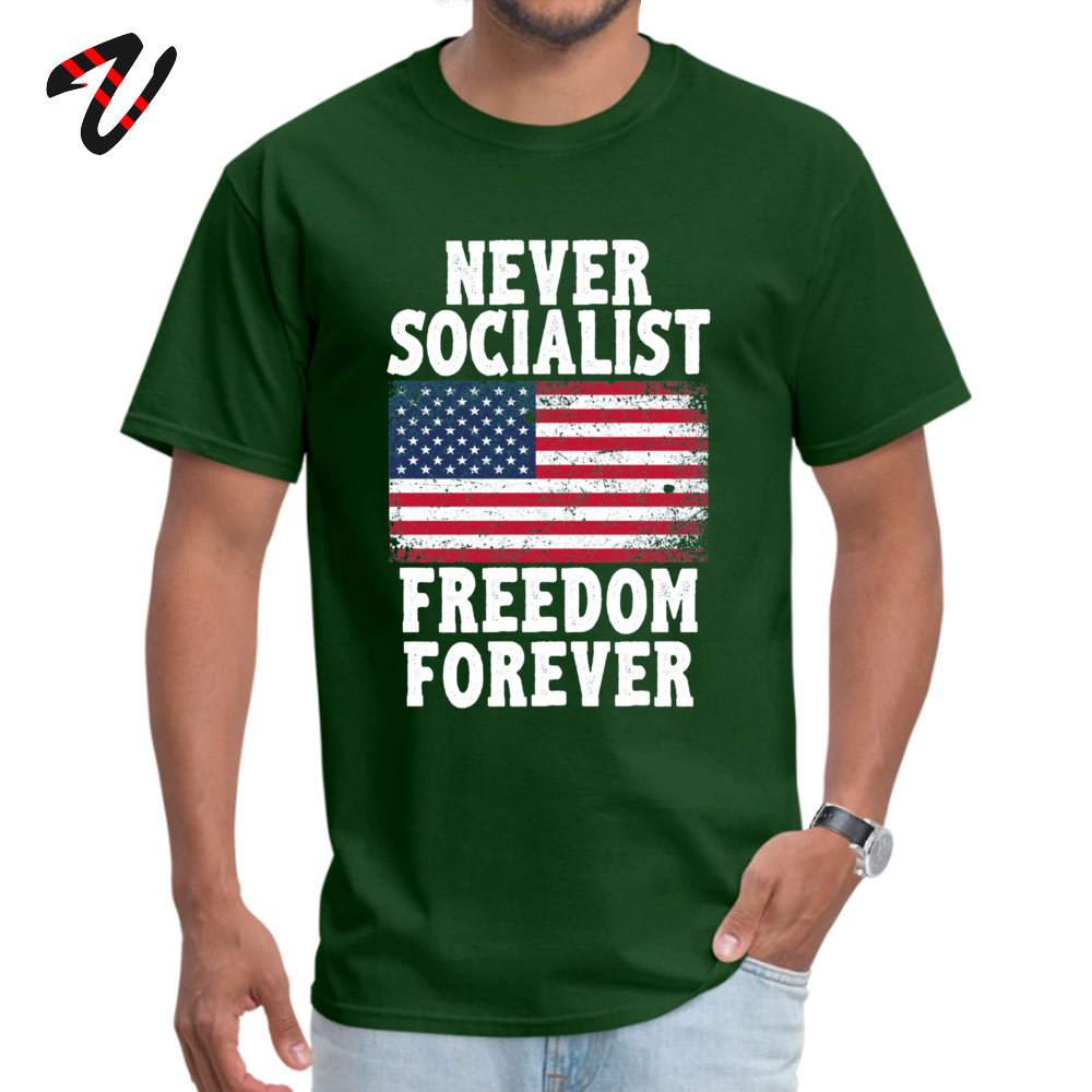 Casual Custom Round Neck T Shirt Labor Day T Shirt Short Sleeve for Men 2019 Hot Sale 100% Cotton Family T-Shirt Never Socialist Freedom Forever Proud Republic dark