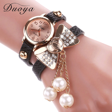 Duoya Brand Watch Women Fashion Butterfly Bow Pearl Casual Leather Bracelet Wristwatch Women Dress Cheap Electronics Watch XR533