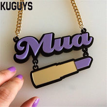 "KUGUYS Fashion Jewelry Acrylic Letter""Mua"" Necklace for Women HipHop Purple Lipstick Pendant Necklace Link Chain DS Accessories(China)"