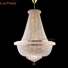 LAITING Dia 60cm H100cm Classic Gold K9 Crystal Indoor Hanging Lighting Fixture for Living Room Interior Decoration LT-71130(China)