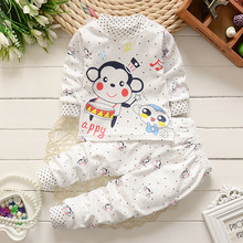 2pcs/ sets newborn toddler Casual Underwear tracksuit baby girls monkey Sleep wear clothes pants Cartoon kids children clothing(China)