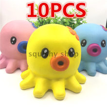 10Pcs/lot Cute Squishy Jumbo Octopus Slow Rising Original 14CM Phone Straps Cream Scented Bun Cake Bread Kid Toys Gift Doll