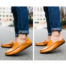 Fashion summer Style Soft Moccasins Men Loafers High Quality Genuine Leather Shoes 2018 New Comfortable Mens Casual Shoes(China)