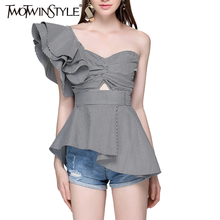 TWOTWINSTYLE 2017 Sleeveless Women's Blouses Shirts Female Summer Tunic Plaid Sexy One Off Shoulder Tops Feminine Ruffle Blouse