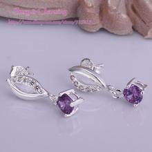 E507 High Quality! Wholesale Low Price Silver Plated Fashion Jewelry Zircon CZ Zircon Earrings Ear Studs 4 Colors Select