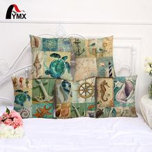 Sea Style Turtles Cushion Cover Cotton and Linen Marine Life Printing Pillowcase For Sofa Living Room Bedroom Decor Pillow Case