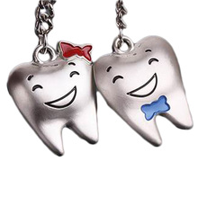2016 New Arrival For Lover Tooth Shape Couple Keychain Metal Trinket Zinc Alloy Wedding Souvenirs