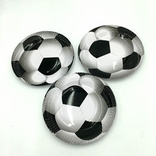 10pcs/lot hot selling football plates kids birthday wedding party supplies football paper dishes happy birthday party supplies(China)