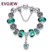 4 Style European Fashion 925 Classic Silver Charm Bracelet With Murano Glass Beads Bracelets for Women Original DIY Jewelry Gift(China)