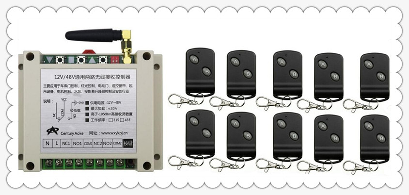 DC12V 24V 36V 48V 10A 2CH RF Wireless Remote Control Switch 10Transmitter with 2-button Receiver for Appliances Gate Garage Door<br>