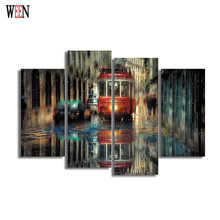 Modern Rainy City Canvas Paintings Car Wall Christmas Canvas Pictures For Home Decor 4Pcs Cuadros Decoracion Vintage Poster Gift