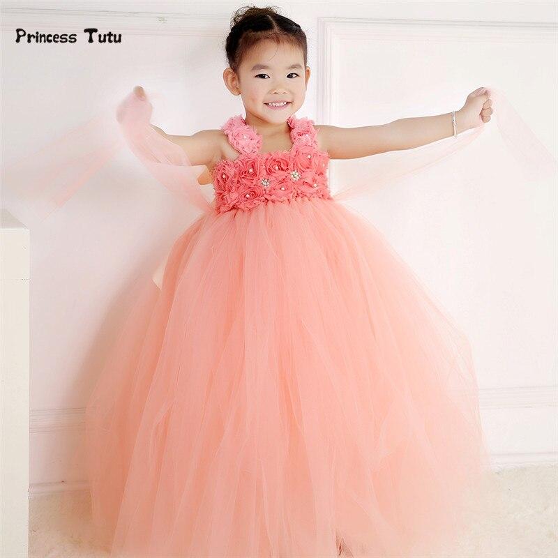 Handmade Peach Baby Girl Tutu Dress Tulle Princess Flower Girl Dress Kids Party Pageant  Birthday Bridesmaid Wedding Dresses<br>