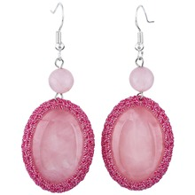 SUNYIK Pink Quartz Crystal Handmade Crochet Oval Stone Dangle Hook Earrings for Women(China)
