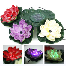 Waterproof Solar Power Lotus Floating RGB Colors Light LED Pool Flower Night View Lamp Decoration For Garden Ourdoor Light