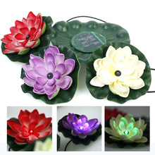 Waterproof Solar Power Lotus Floating RGB Colors Light LED Pool Flower Night View Lamp Decoration For Garden Ourdoor Light(China)