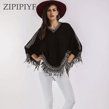 Buy ZIPIPIYF Autumn Winter Sweater Knitted Batwing Tassel Pullover Sweaters Tops Knitwears Womens Capes Ponchos Womens Clothings for $21.35 in AliExpress store