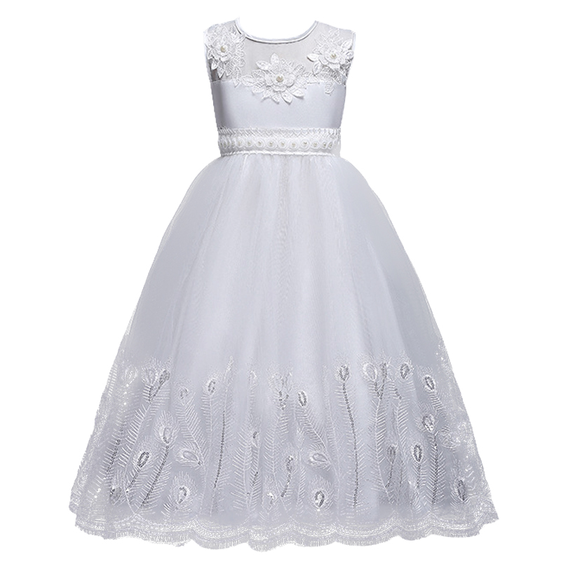 White Kid Girls Wedding Flower Girl Dress Elegant Princess Party Floor Length Pageant Formal Bridesmaid Wedding Dress<br>