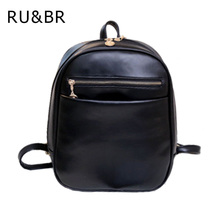 RU&BR Preppy Style Leather Backpacks Hot Sale Women Shopping Clutch Designer Fresh Casual Girls Backpacks Candy Shoulders Bags