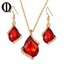 OL Bridal Wedding Accessories Gold Color Love Crystal Jewelry Sets For Women Pendent Necklace Hook Earrings Jewellery Set(China)