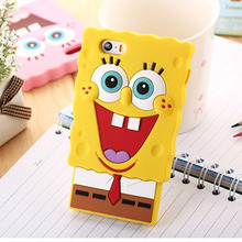 1 Pc/lot Soft Silicone 3D Cartoon Sponge Bob Style Cell Phone Case Back Cover for iphone 6s/6 plus/5s
