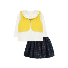Infant Direct Selling Toddler New Cotton Girls Baby Autumn 3 Pieces Clothing Set Casual Solid Color Kids Shirt +Skirt + Vest