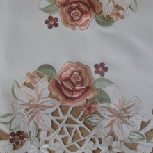 New Hot Elegant Polyester Satin Embroidery Orange Floral Tablecloths Handmade Embroidered Flower Table Cloth Cover Overlays