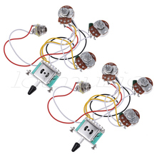 Electric Guitar Wiring Harness Prewired Kit 5 Way Toggle Switch 250K 2T1V Pots for Strat Parts Set of 2(China)