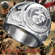 RIR playerunknown's battlegrounds USA Military Ring United States MARINE CORPS US ARMY Men Rings fashion Stainless Steel jewelry(China)