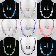 Free shipping Blue Green Black Grey Red Purple Clear Crystal Lampwork Glass Round Beads Necklace Earrings Jewelry Set TBM075(China)