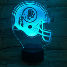 Luminous Lamp Washington Redskins Football Helmet Table Lamps Team Logo Sport Cap Abajur Led Furnish 3D Nightlight Kid Luminaria(China)