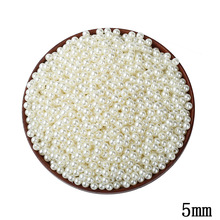 1000pcs/lot 5MM ABS Ivory Imitation Pearl Beads Wholesale Round Plastic Ball European Spacer Hole Beads For DIY Jewelry Making