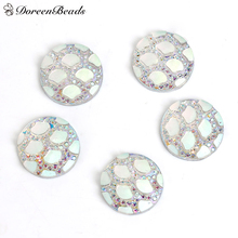 "DoreenBeads Resin Mermaid Fish /Dragon Scale Dome Seals Cabochon Round White AB Color 12mm( 4/8"") Dia, 100 PCs(China)"