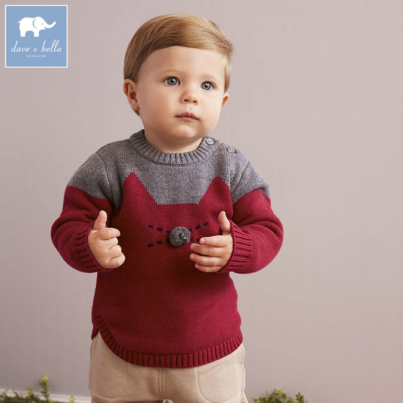 DB5559 dave bella autumn infant baby boys cotton pullover wool sweater lovely wine clothes toddler children knitted Sweater<br>