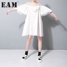 [EAM] S 2017 New Autumn Strapless Solid Color Lotus Leaf Loose Big Size Casual Fashion Black White Dress Women Tide J491(China)