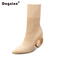 DAGNINO 2017 Famous Brand Women Ankle Boots Autumn Winter Stretch Fabric Socks Boot Fretwork Heels Shoes Top Quality High Heel(China)