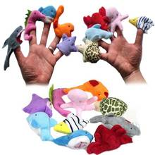 10pcs/ Set Cute Sea Animals Plush Hand Finger Puppets Toys Birthday Christmas Gifts for Children Kids  FJ88