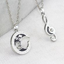 Rhinestone Moon Music Notes Necklace Moon Jewelry Natural Stone Crystal Tourmaline Necklace Pendant For Women