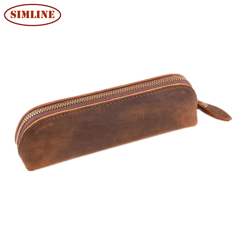 Vintage Handmade 100% Genuine Crazy Horse Leather Cowhide Men Women Long Zipper Wallet Wallets Purse Pen Pencil Bag Bags Holder<br><br>Aliexpress