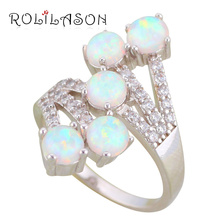 ROLILASON Gorgeous Rings for Mother White Fire Opal 925 Silver Brand Fashion Jewelry Rings USA Size #6#7#8#9#10 OR872