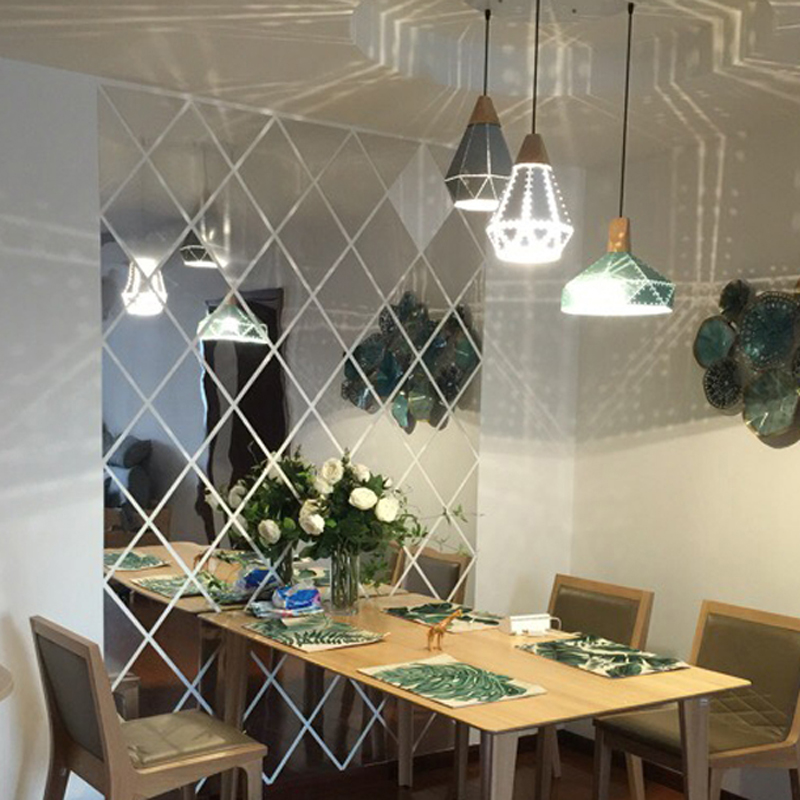 Diamonds Triangles Wall Art Acrylic Mirror Wall Sticker House Decoration 3D DIY Wall Decals Art for Living Room Home Decor