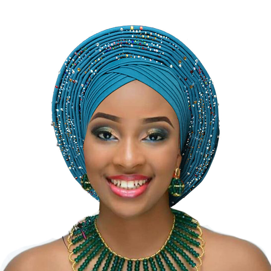 2018 Nigerian gele headtie already made auto hele turban cap african aso ebi gele aso oke headtie big brim (12)