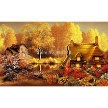 New hot sale needlework free shipping full rhinestone diy diamond painting set fall landscape dream house resin embroidery 45x27