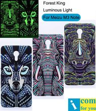 Tiger Elephant Lion Wolf Cover Case For Meizu M3 Note Forest King Light Glow in the Dark Night Luminous