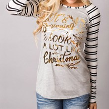 Blusas Femininas 2017 New Christmas Striped Letter Print Blouses Casual Women Long Sleeve O Neck Patchwork Winter Shirts Tops