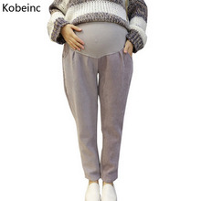 Buy Kobeinc Corduroy Pants Pregnant Women Autumn Winter Plus Cashmere Thick Maternity Trousers Solid Casual Pregnancy Clothes for $14.90 in AliExpress store