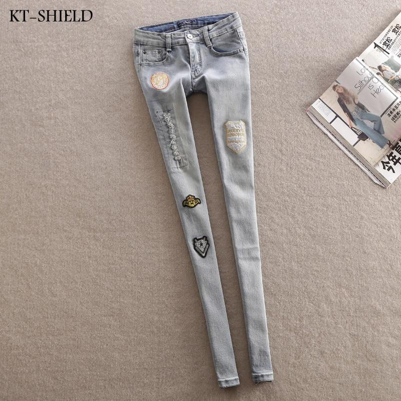 New woman Personalized Badge Hole Punk jeans Slim Patch Beggar Denim Pants women ripped boyfriend jeans Applique Long TrousersОдежда и ак�е��уары<br><br><br>Aliexpress