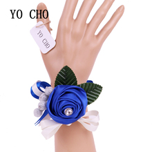 YO CHO Greenery Rhinestone Ribbon Bracelet Bridesmaid Sisters Hand Flowers Party Bridal Prom Royal Blue Wedding Wrist Corsage