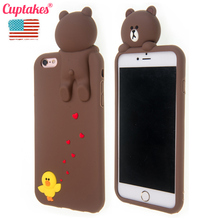 Cuptakes for iPhone 7 Case 3D Cute Yellow Duck Brown Bear Soft Silicone Phone Cases for iPhone 6S Cover 6 7 Plus Coque Animal(China)