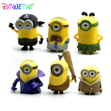 DIWEINI 6pcs/lot 5-6CM Minions Despicable Me 2 Movie 3D Eye Dave Stuart Action Figure Table Decoration Toys Gift for Kids Set